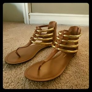 Jessica Simpson Gold Gladiator Sandals